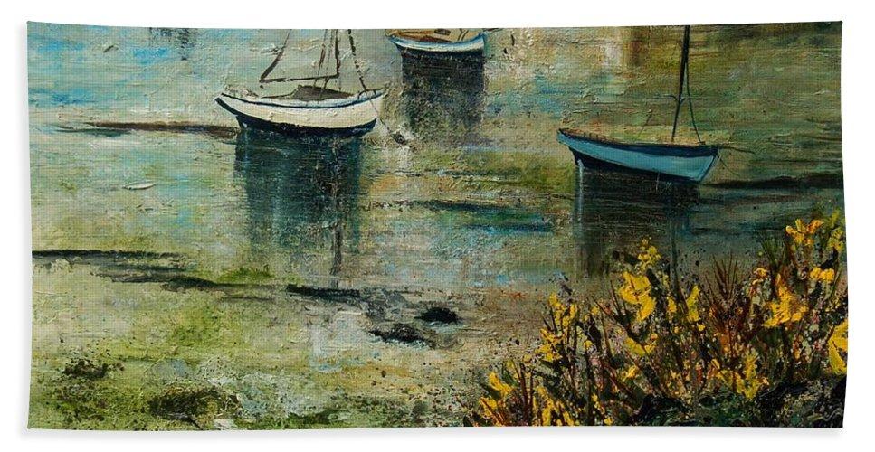 Seascape Bath Sheet featuring the print Seascape 78 by Pol Ledent