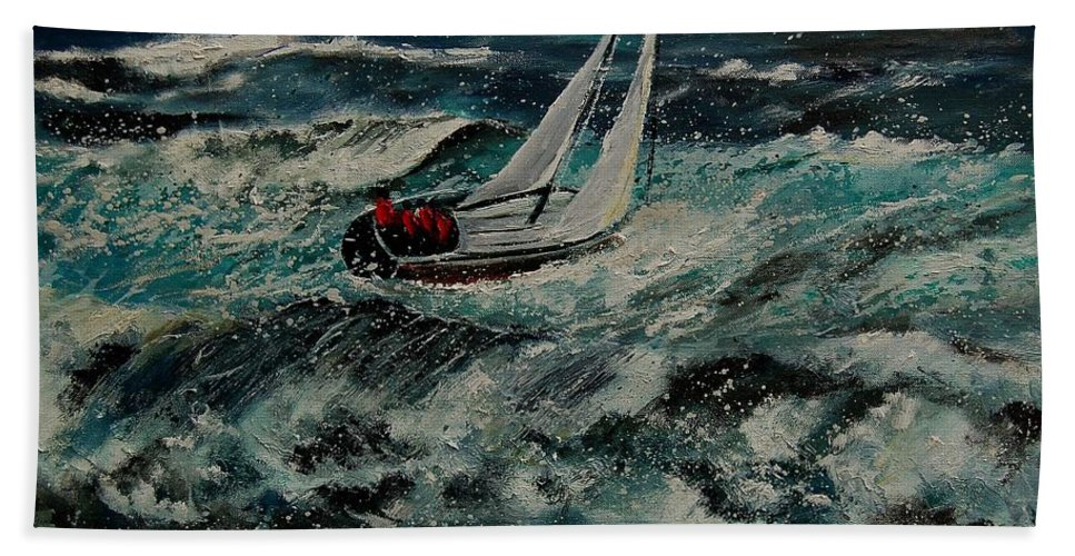 Sea Bath Sheet featuring the painting Seascape 97 by Pol Ledent