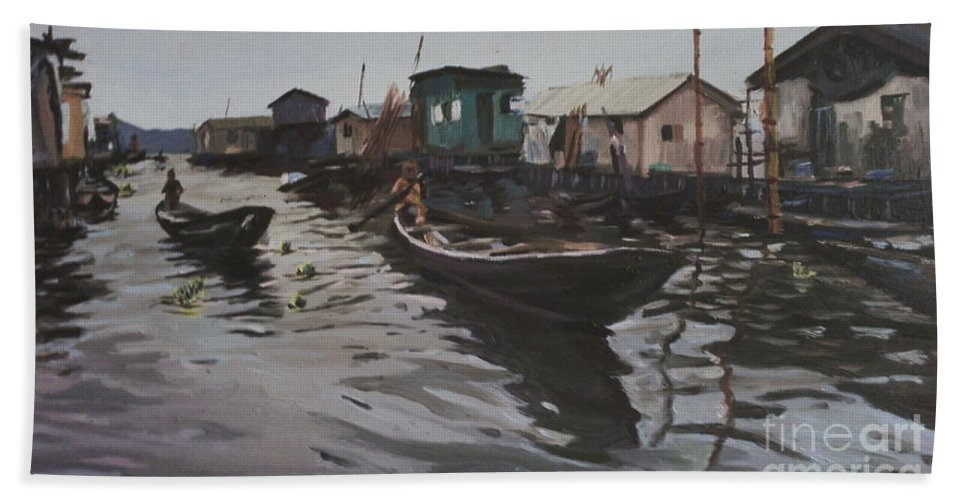 Seascape Hand Towel featuring the painting Seascape by Azeez Iyanuoluwa Ogunyemi