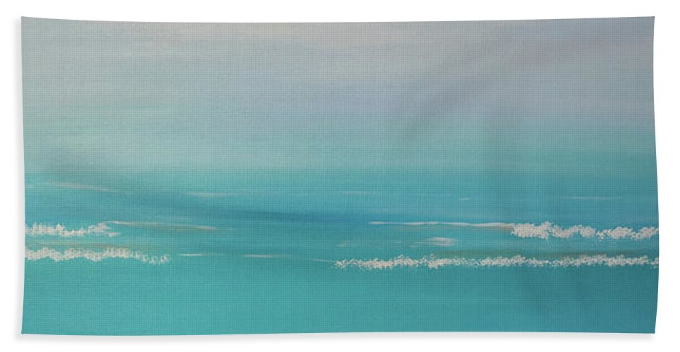 Ocean Bath Sheet featuring the painting Seascape by Deborah Christensen