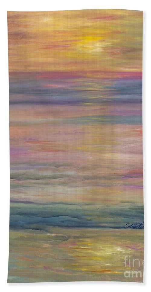 Sea Bath Towel featuring the painting Seascape by Nadine Rippelmeyer