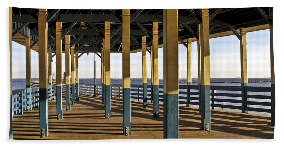 Seascape Bath Sheet featuring the photograph Seascape Walk On The Pier by Carol F Austin
