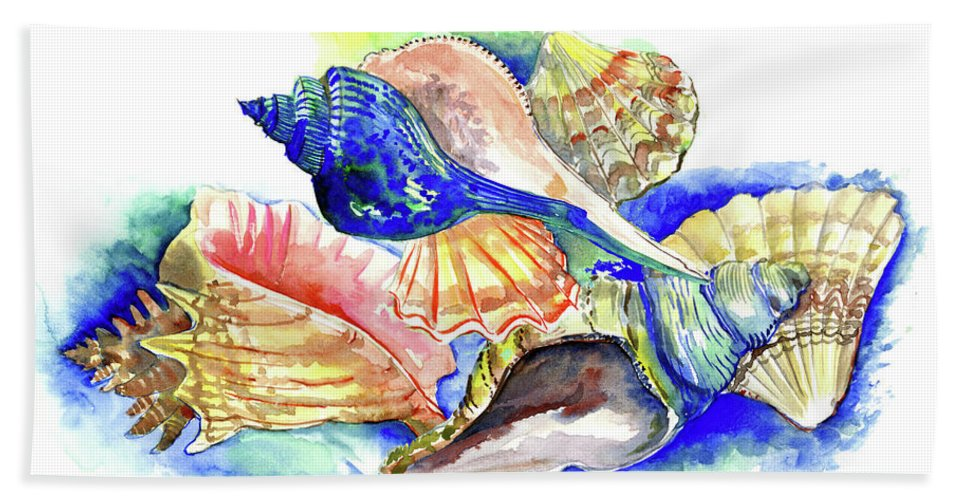 Seashell Bath Sheet featuring the painting Seashells by Suren Nersisyan