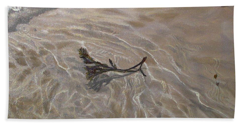 Seascape Bath Sheet featuring the painting Seashore Reflections by Lea Novak