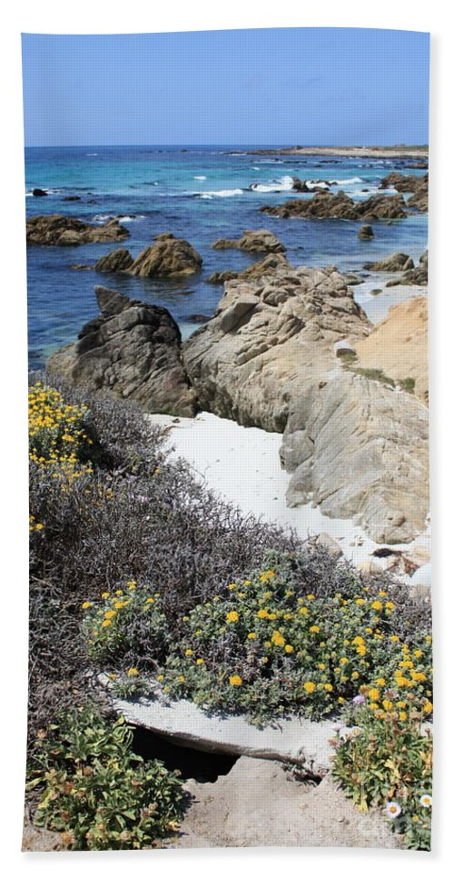 Landscape Hand Towel featuring the photograph Seaside Flowers And Rocky Shore by Carol Groenen