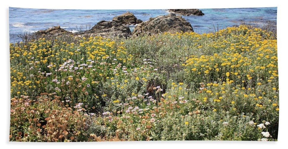 Seaside Flowers Hand Towel featuring the photograph Seaside Flowers by Carol Groenen