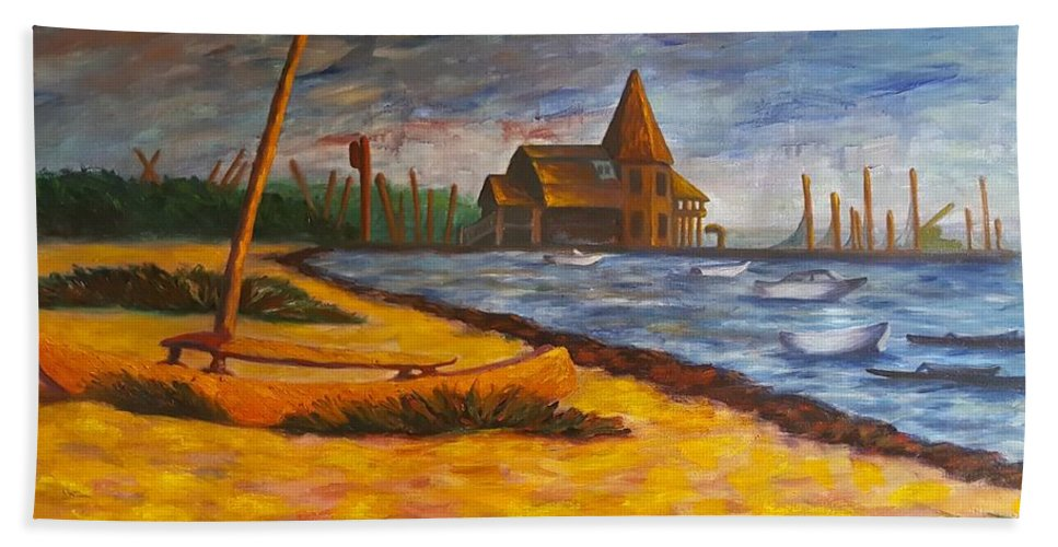 Marine Hand Towel featuring the painting Seaside Park Nj Yacht Club by Joann Renner