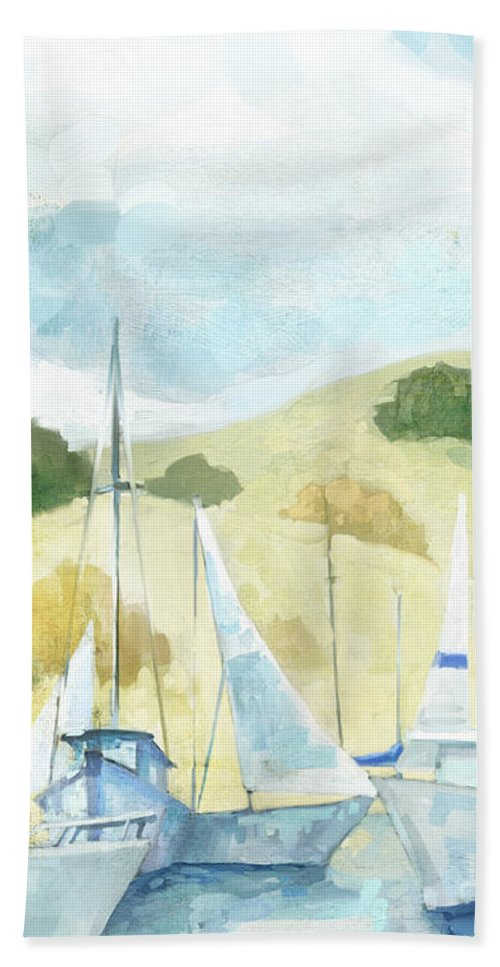 Coastal Hand Towel featuring the painting Seaside Sails by Mauro DeVereaux