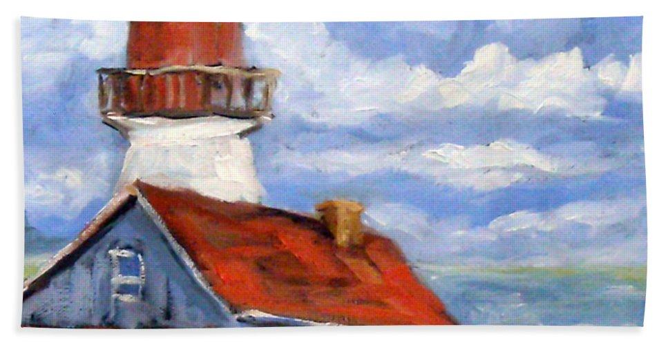 Art Bath Towel featuring the painting Seaside Sentinal by Richard T Pranke