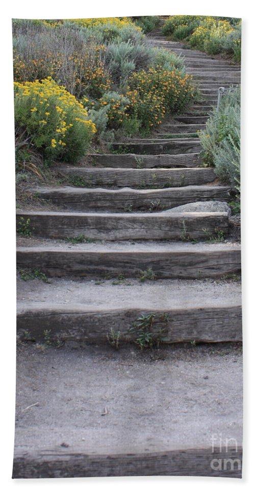 Seaside Steps Bath Sheet featuring the photograph Seaside Steps by Carol Groenen