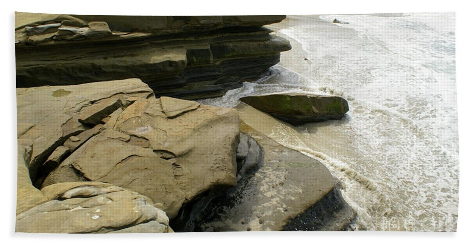 Sea Bath Sheet featuring the photograph Seaside With Rocks On Left by Debby Harrison