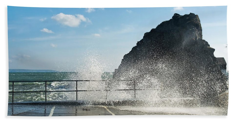 Mevagissey Hand Towel featuring the photograph Seaspray At Mevagissey Harbour 2 by Susie Peek