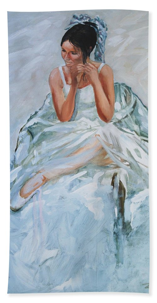 Figurative Bath Towel featuring the painting Seated Dancer by Rick Nederlof