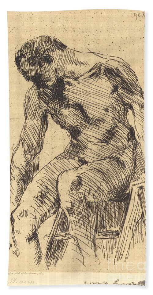 Hand Towel featuring the drawing Seated Male Nude (sitzender M?nnlicher Akt) by Lovis Corinth