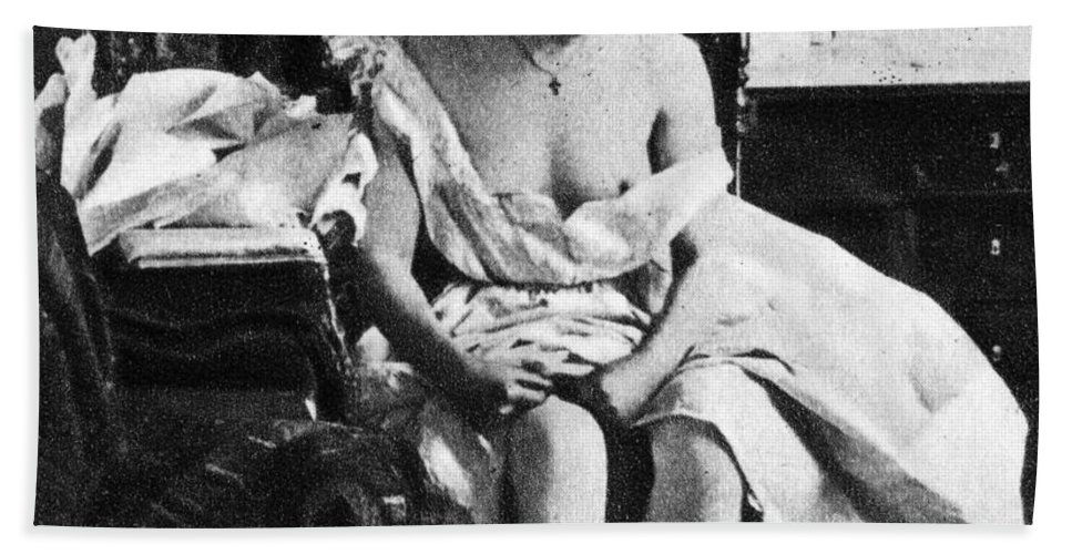 1861 Hand Towel featuring the photograph Seated Nude, C1861 by Granger