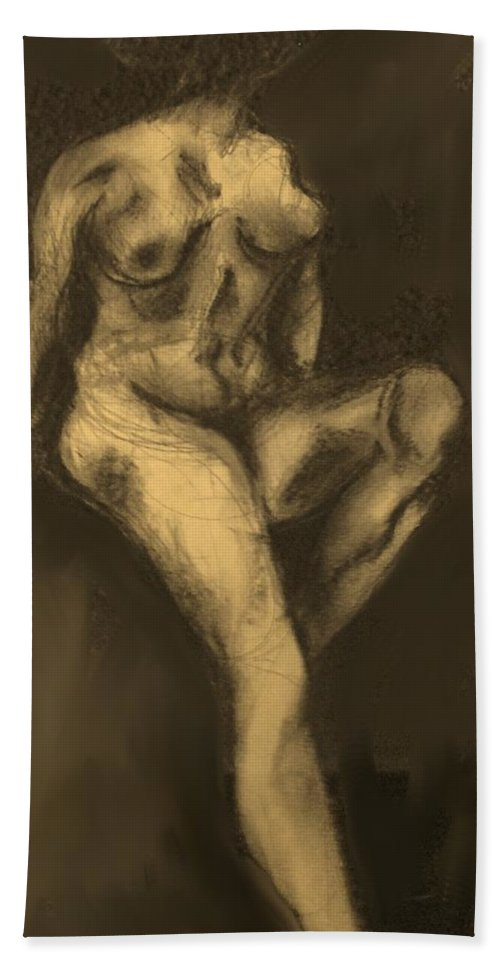 Nude Hand Towel featuring the drawing Seated Pose by Ian MacDonald