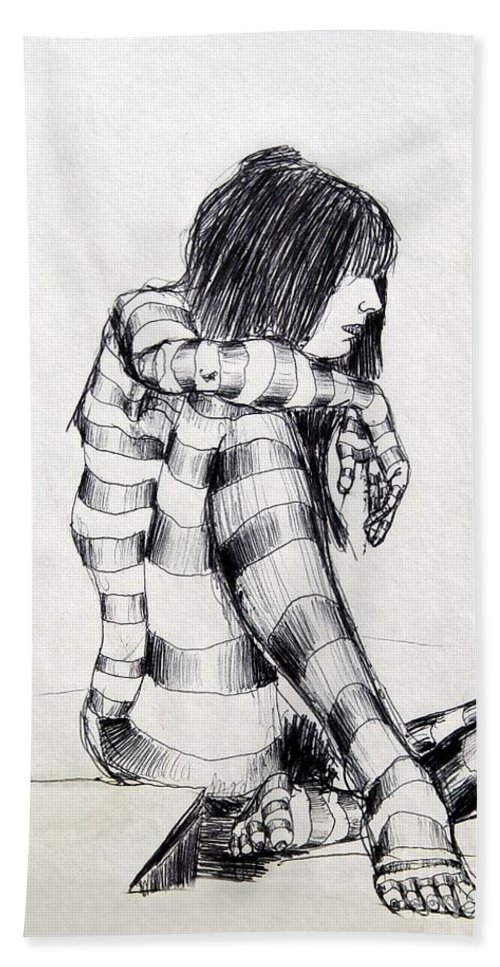 Ink Drawing Bath Towel featuring the drawing Seated Striped Nude by Ron Bissett