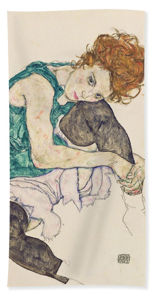Egon Schiele Bath Towel featuring the painting Seated Woman with Bent Knee by Egon Schiele
