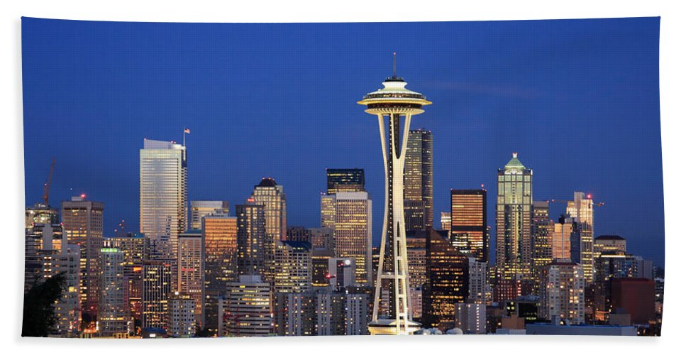 3scape Photos Bath Towel featuring the photograph Seattle at Dusk by Adam Romanowicz