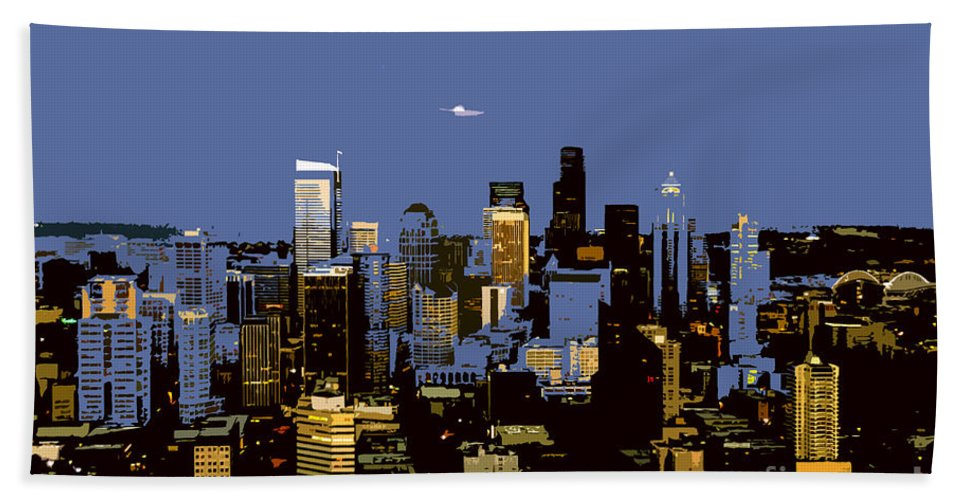 Seattle Washington Bath Towel featuring the painting Seattle City by David Lee Thompson