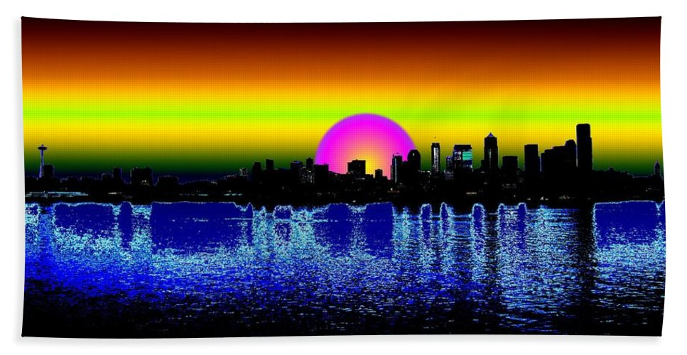 Seattle Hand Towel featuring the digital art Seattle Dawning by Tim Allen
