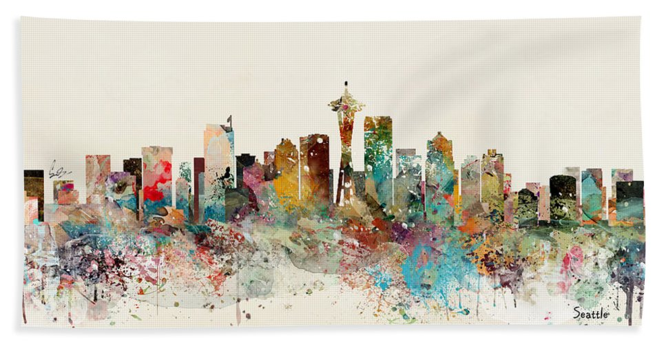 Seattle Bath Towel featuring the painting Seattle Skyline by Bri Buckley