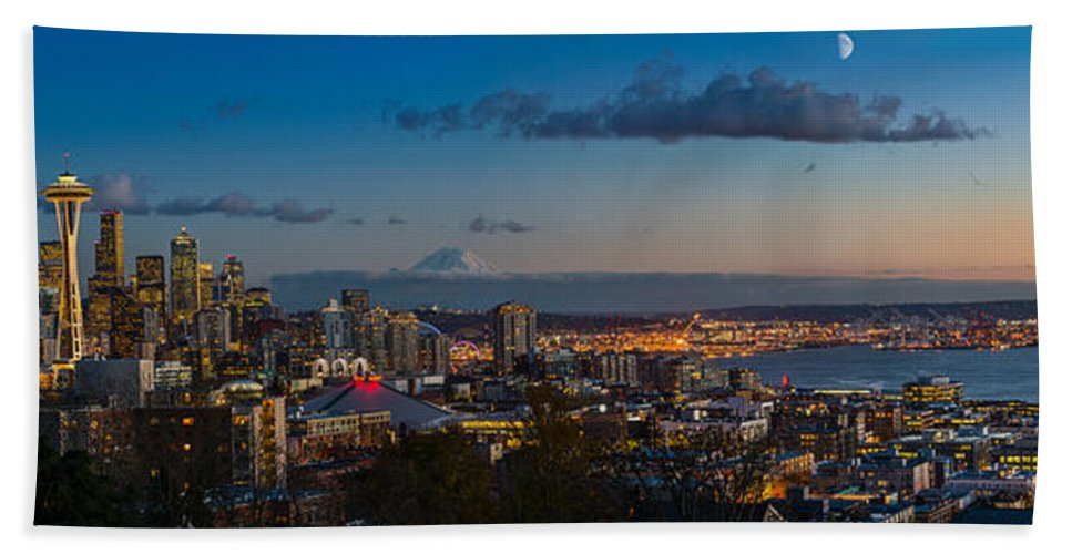 Seattle Bath Sheet featuring the photograph Seattle Skyline Panorama by Jamie Pham