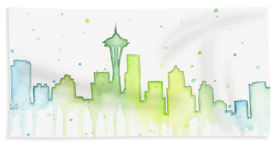 Seattle Hand Towel featuring the painting Seattle Skyline Watercolor by Olga Shvartsur
