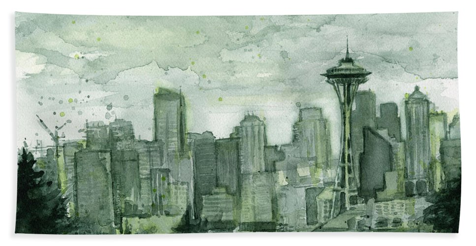 Seattle Hand Towel featuring the painting Seattle Skyline Watercolor Space Needle by Olga Shvartsur