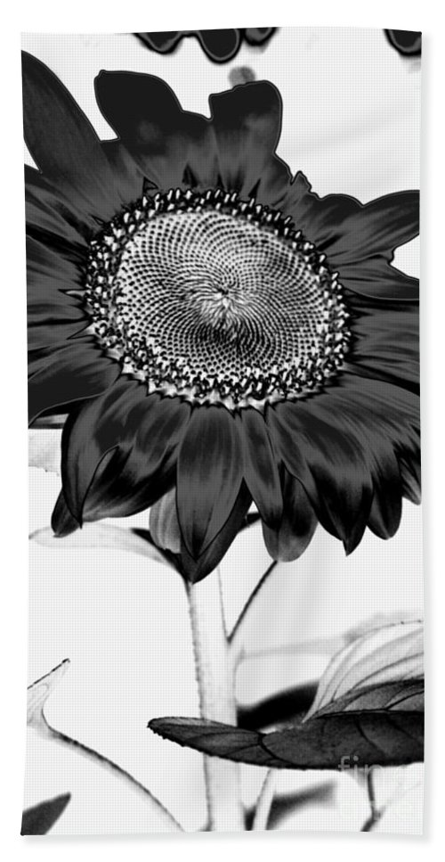 Black And White Photography Hand Towel featuring the photograph Seattle Sunflower Bw Invert - Stronger by Heather Kirk