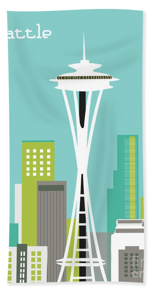Seattle Hand Towel featuring the digital art Seattle Washington Vertical Skyline - Teal by Karen Young