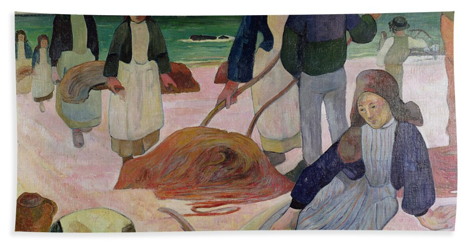Seaweed Gatherers Hand Towel featuring the painting Seaweed Gatherers by Paul Gauguin
