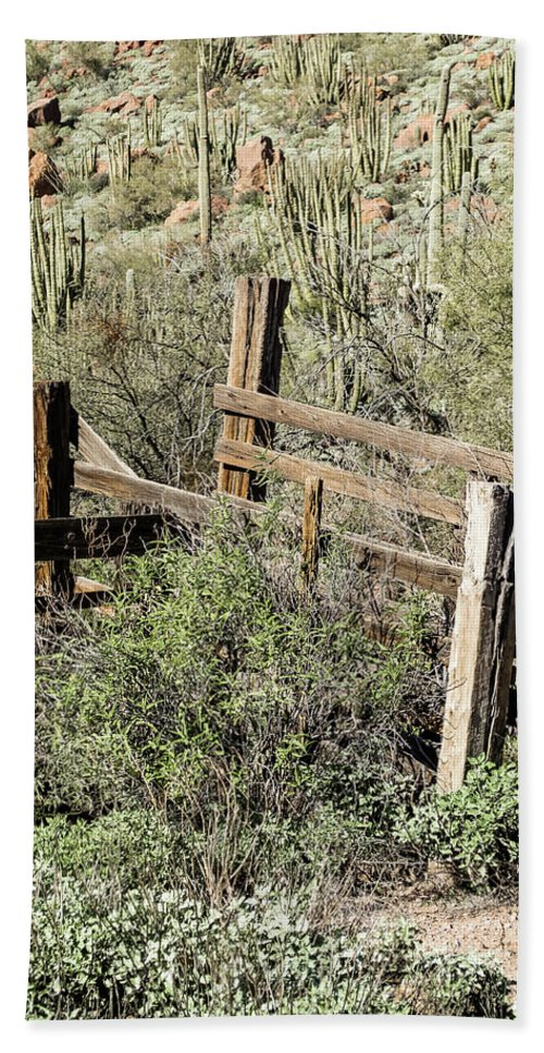 Arizona Hand Towel featuring the photograph Secluded Historic Corral In Sonoran Desert by Cary Leppert