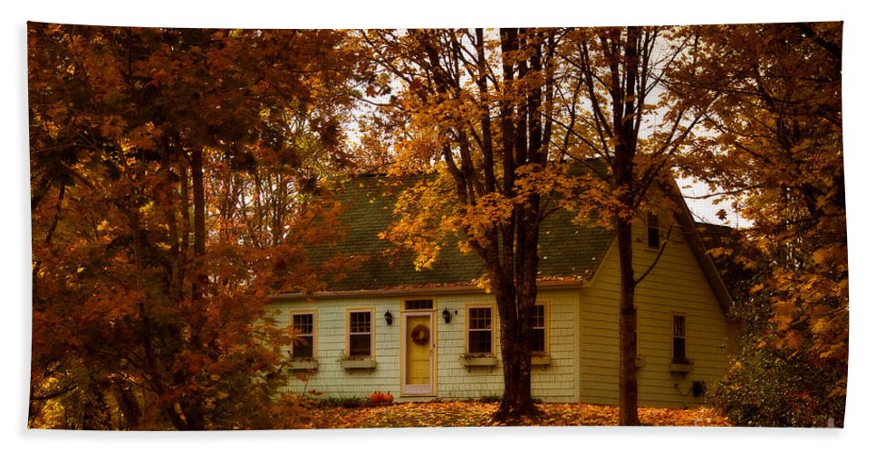 Autumn Colors Hand Towel featuring the photograph Secluded In The Trees by Venetta Archer