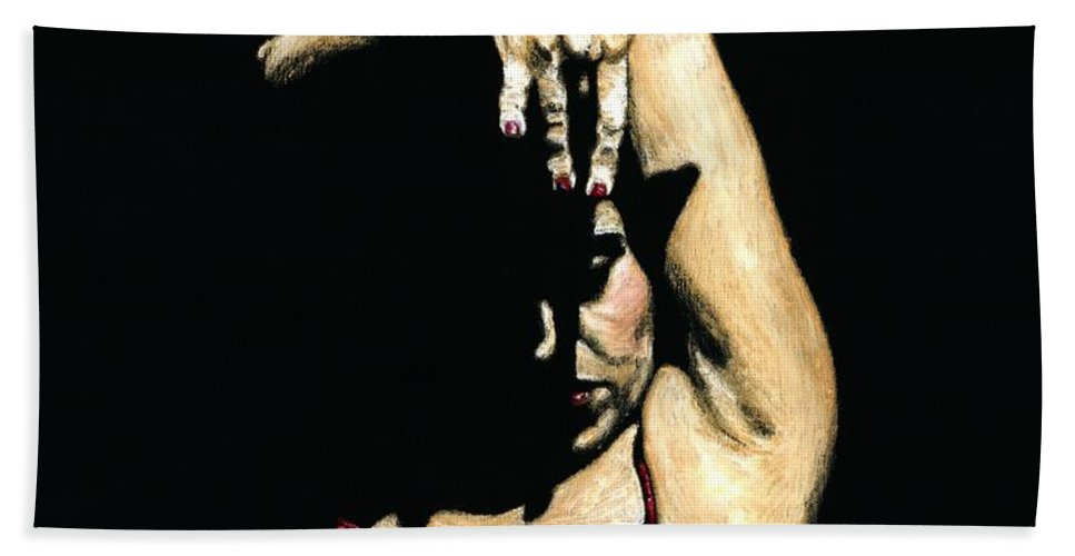 Flamenco Hand Towel featuring the painting Seclusion Del Flamenco by Richard Young
