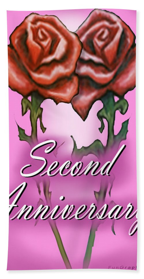 Second Hand Towel featuring the greeting card Second Anniversary by Kevin Middleton