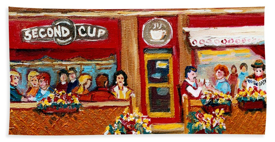 Second Cup Coffee Shop Hand Towel featuring the painting Second Cup Coffee Shop by Carole Spandau