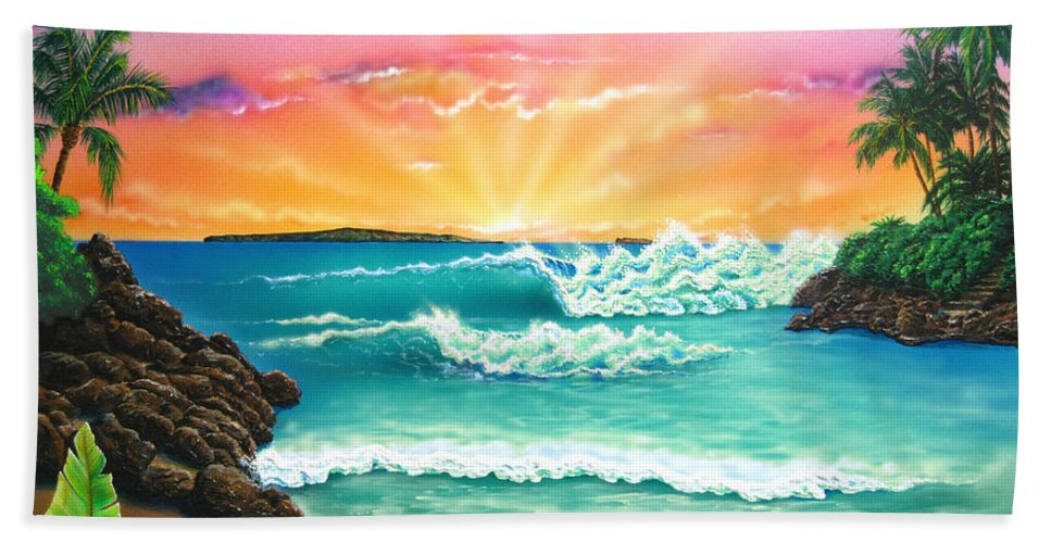 Seascape Hand Towel featuring the painting Secret Beach by Angie Hamlin