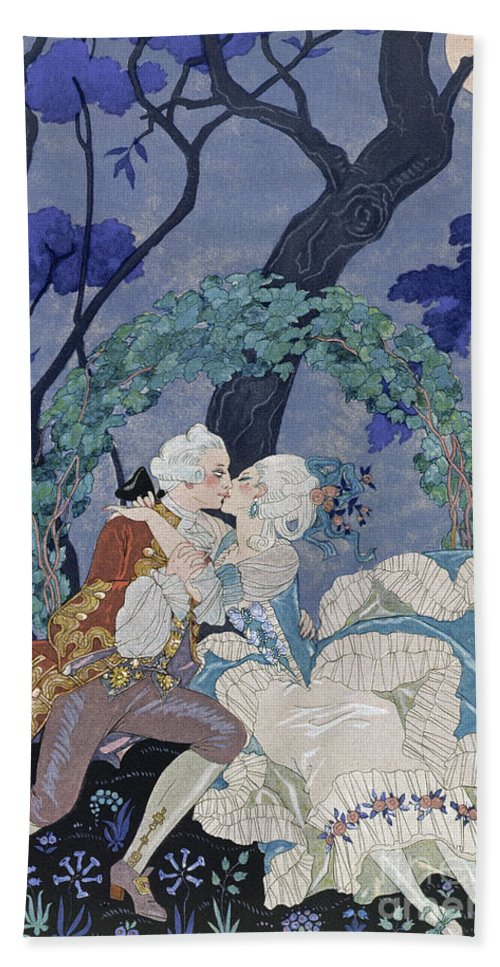 Secret Kiss Bath Sheet featuring the painting Secret Kiss by Georges Barbier