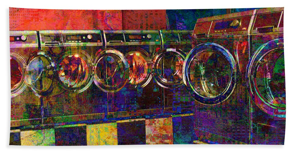 Laundry Bath Sheet featuring the digital art Secret Life Of Laundromats by Barbara Berney