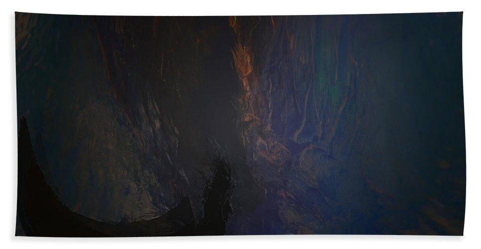 Woman Girl Lady Mysterious Mystery Sanctuary Trees Water Land Cave Abstract Secret Place Bath Sheet featuring the photograph Secret Place by Andrea Lawrence