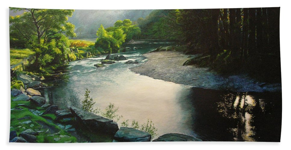 Valley Bath Sheet featuring the painting Secret Valley by Harry Robertson