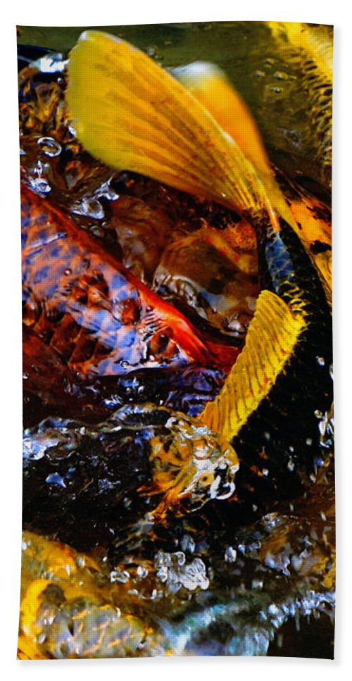 Koi Hand Towel featuring the photograph Secrets Of The Wild Koi 2 by September Stone