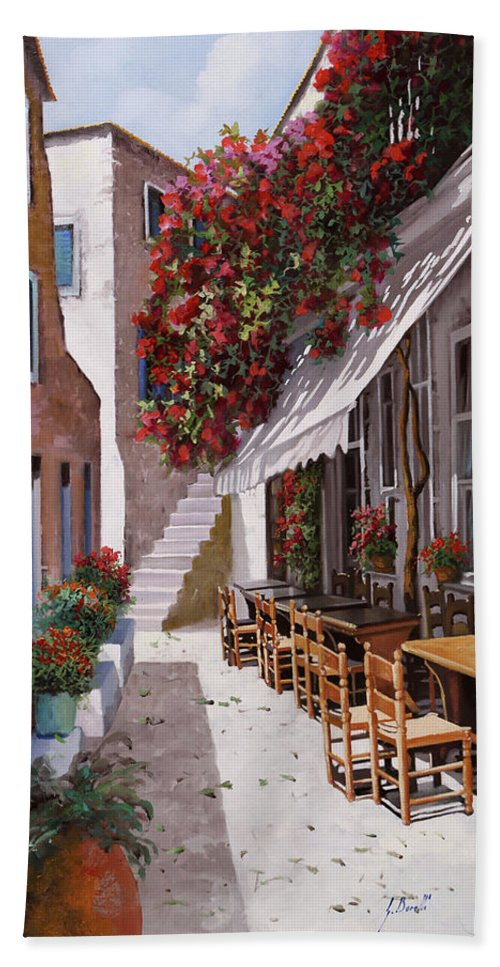 Greece Hand Towel featuring the painting Sedie E Tavoli by Guido Borelli