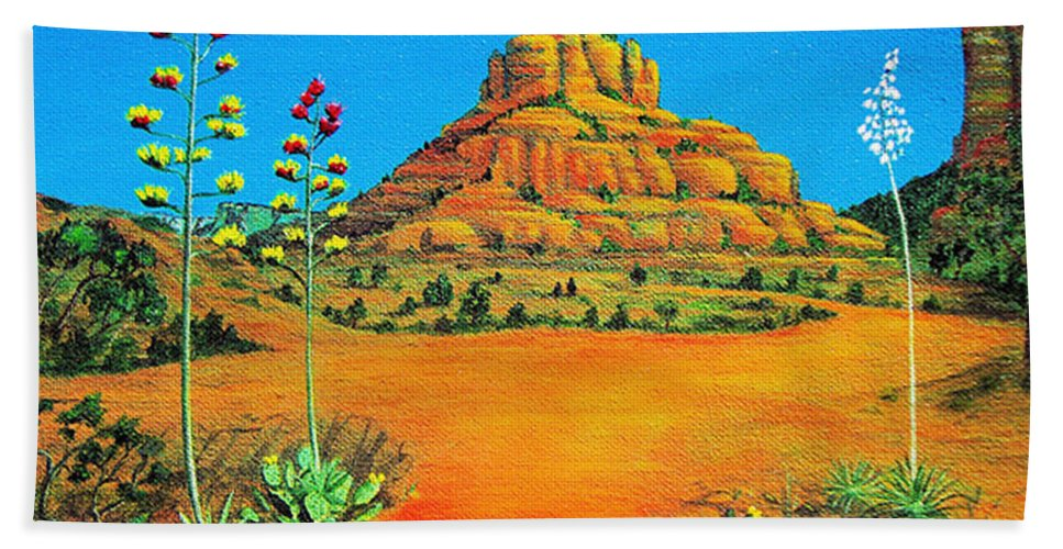 Sedona Hand Towel featuring the painting Sedona Bell Rock by Jerome Stumphauzer