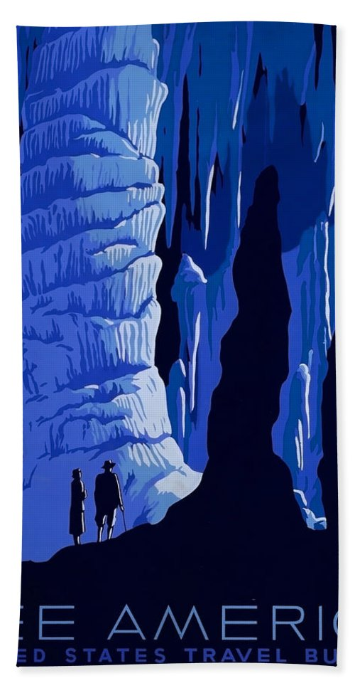 America Hand Towel featuring the painting See America, Inside Cave by Long Shot