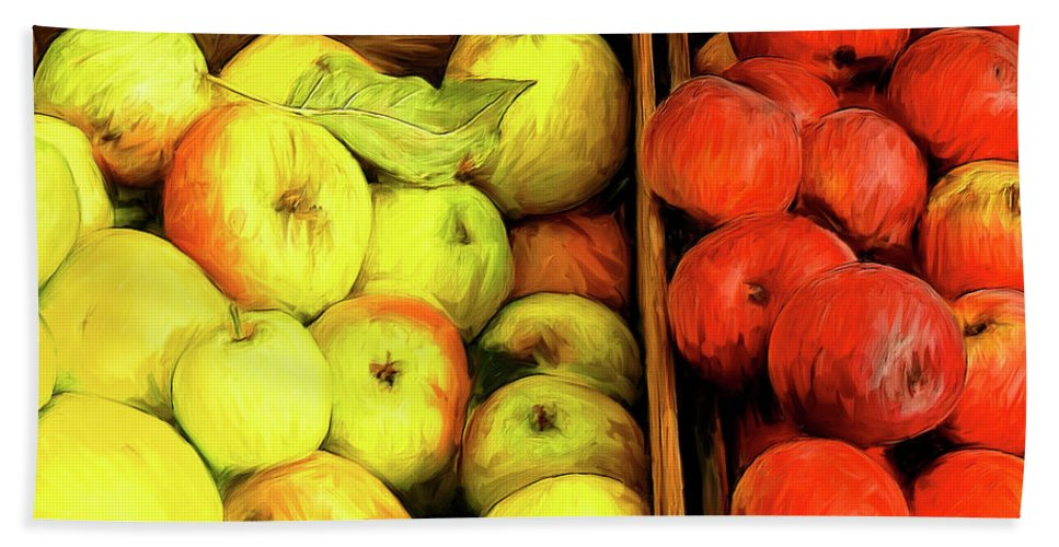 Apples Hand Towel featuring the painting See Canyon Apples by Dominic Piperata