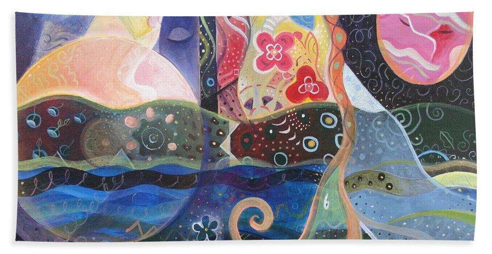 Seeker Bath Sheet featuring the painting Seeking Wisdom by Helena Tiainen