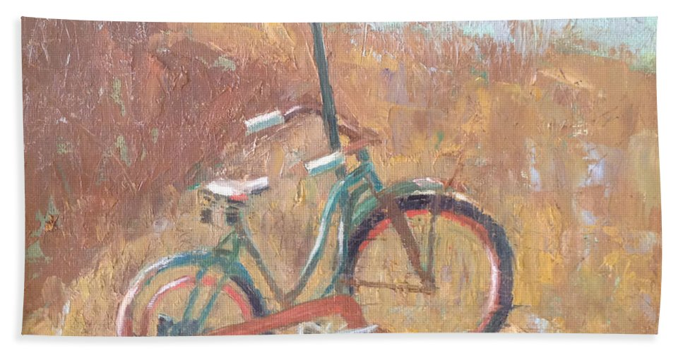 Bike Hand Towel featuring the painting Seen Better Days by Becky Christenson