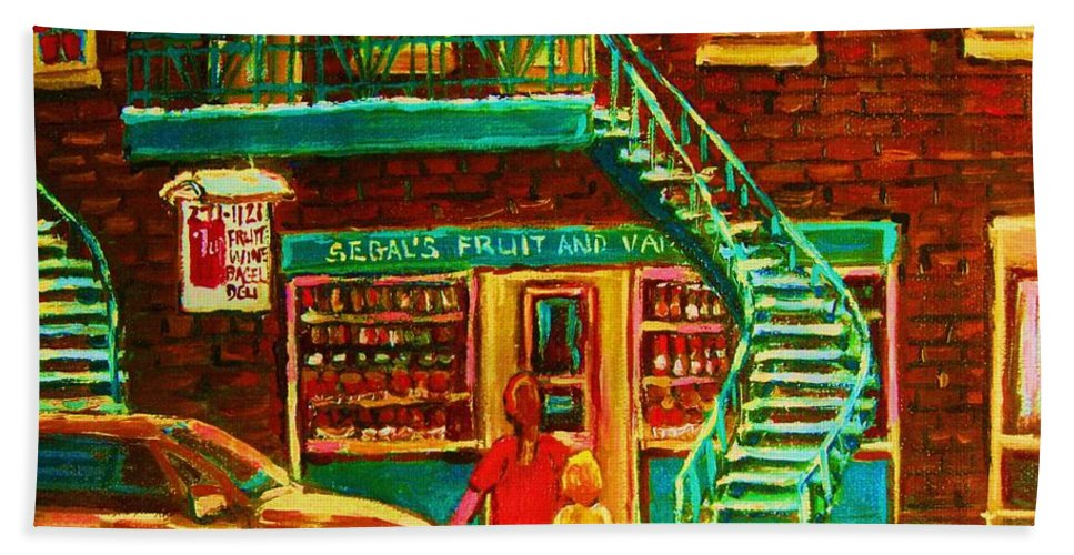 Staircases Bath Towel featuring the painting Segal's Fruit And Variety Store by Carole Spandau